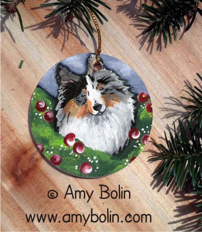 CERAMIC ORNAMENT · ELLA · BLUE MERLE SHELTIE · AMY BOLIN