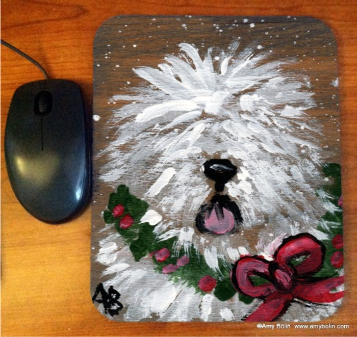 MOUSE PAD · CHRISTMAS TRADITIONS · OLD ENGLISH SHEEPDOG · AMY BOLIN