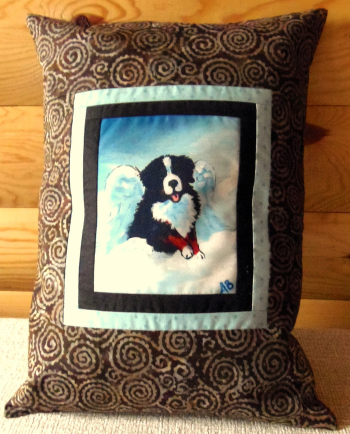 """Handmade Quilted 12"""" by 16"""" Pillow    """"My Sweet Angel""""   Bernese Mountain Dog  By Dawn Johnson"""