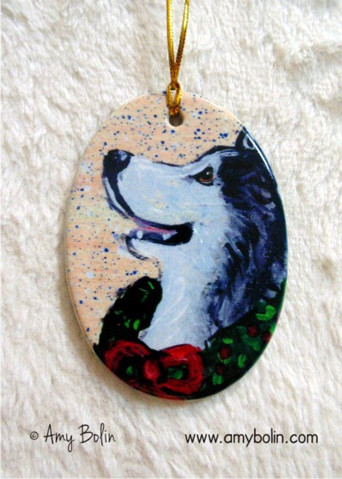 OVAL SHAPED CERAMIC ORNAMENT · CHRISTMAS TRADITIONS ·  ALASKAN MALAMUTE · AMY BOLIN