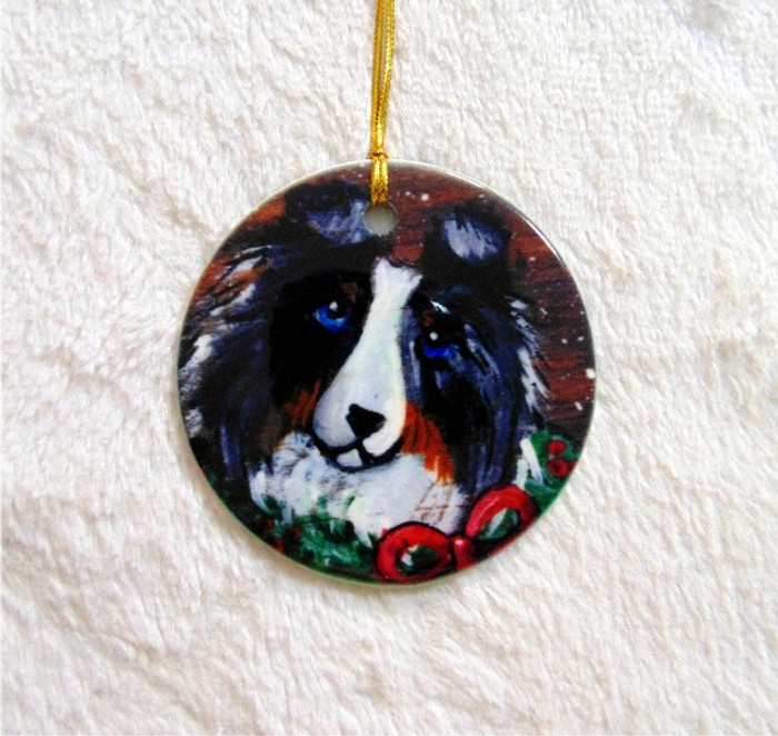 CERAMIC ORNAMENT · CHRISTMAS TRADITIONS · BLUE MERLE SHELTIE · AMY BOLIN