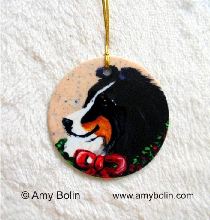 CERAMIC ORNAMENT · CHRISTMAS TRADITIONS · TRI COLOR SHELTIE · AMY BOLIN