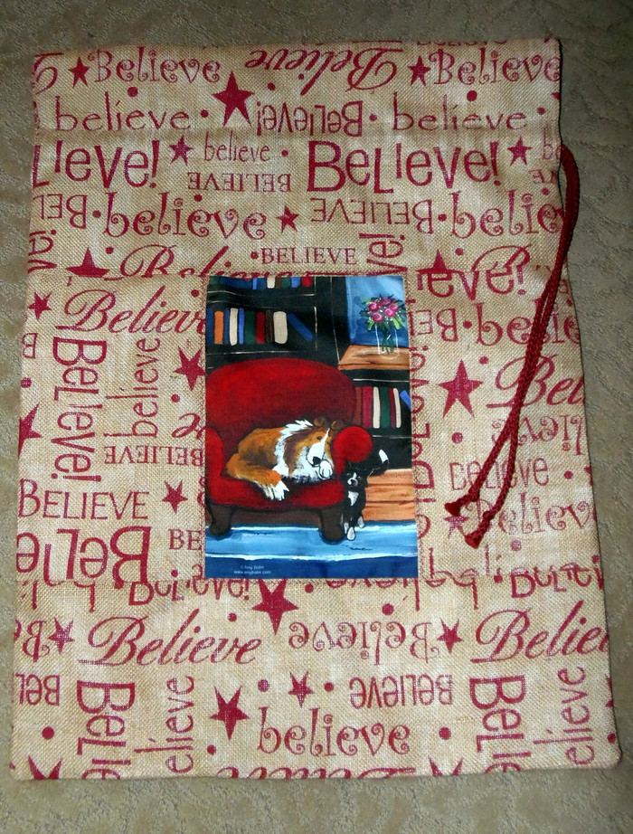 """LARGE 21"""" BY 29""""  Handmade Gift Bag   """"The Red Leather Chair""""  Sable Sheltie and Cats       By Dawn Johnson"""