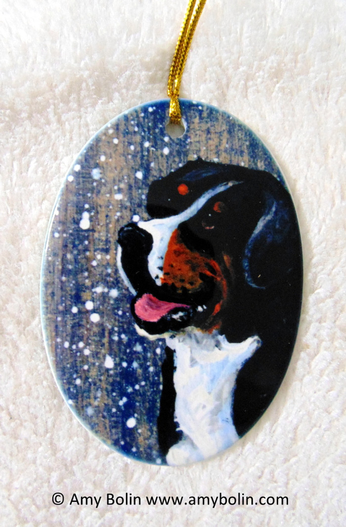 OVAL SHAPED CERAMIC ORNAMENT · SWISSY · GREATER SWISS MOUNTAIN DOG · AMY BOLIN