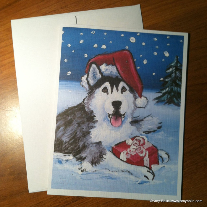 """Christmas: Merry Christmas (Brown Eyes)"" Siberian Husky Note Cards"