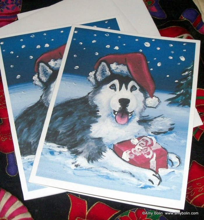 """Christmas: Merry Christmas (Blue Eyes)"" Siberian Husky Note Cards"