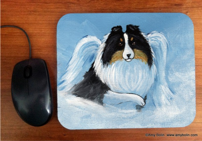 MOUSE PAD · MY SWEET ANGEL · TRI COLOR SHELTIE · AMY BOLIN