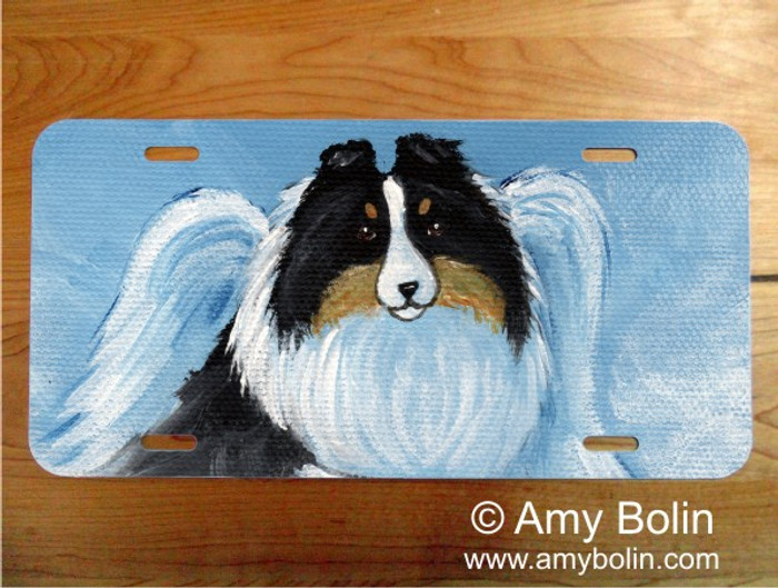 LICENSE PLATE · MY SWEET ANGEL · TRI COLOR SHELTIE · AMY BOLIN