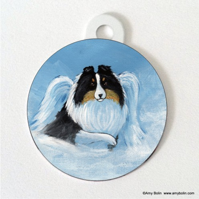 DOUBLE SIDED PET ID TAG · MY SWEET ANGEL · TRI COLOR SHELTIE · AMY BOLIN
