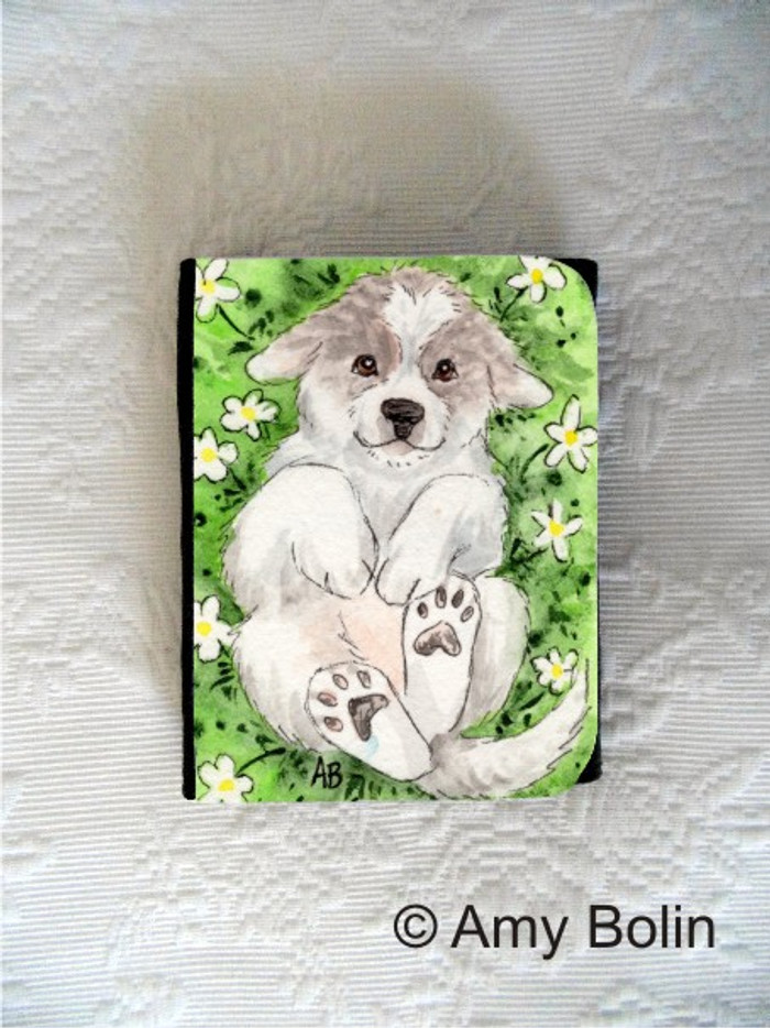 SMALL ORGANIZER WALLET · PUPPY LOVE · GREAT PYRENEES · AMY BOLIN