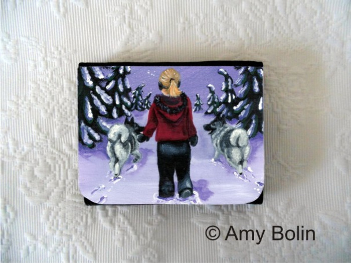 SMALL ORGANIZER WALLET · A SNOWY WALK · NORWEGIAN ELKHOUNDS · AMY BOLIN