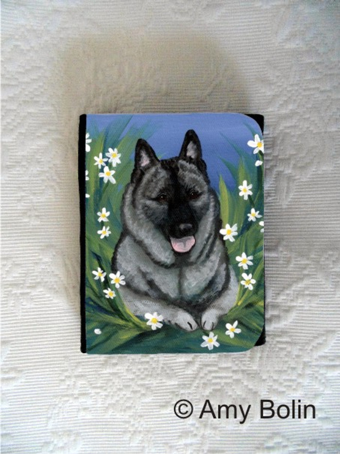 SMALL ORGANIZER WALLET · DAISES · NORWEGIAN ELKHOUNDS · AMY BOLIN