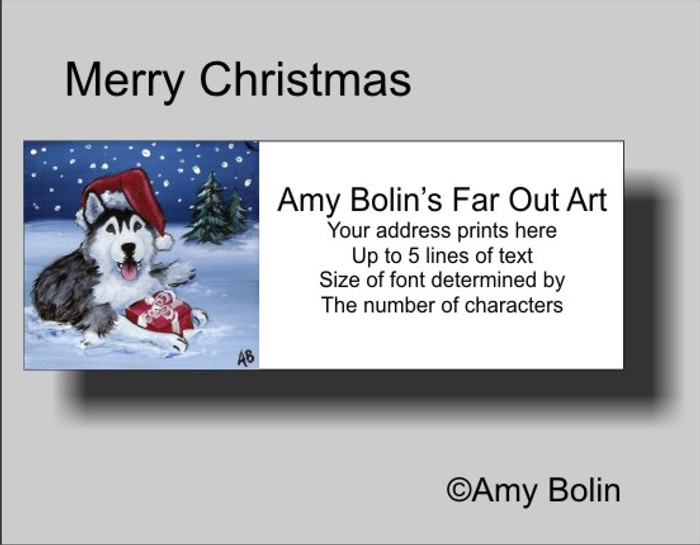 """Christmas: Merry Christmas (Brown Eyes)"" Siberian Husky Address Labels"