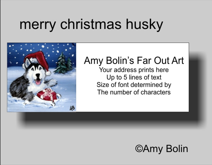 """Christmas: Merry Christmas (Blue Eyes)"" Siberian Husky Address Labels"