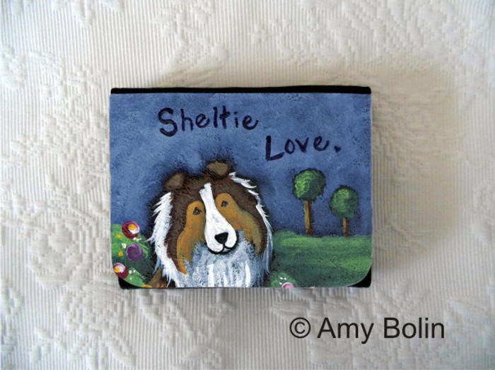 SMALL ORGANIZER WALLET · SHELTIE LOVE  · SABLE  SHELTIE · AMY BOLIN