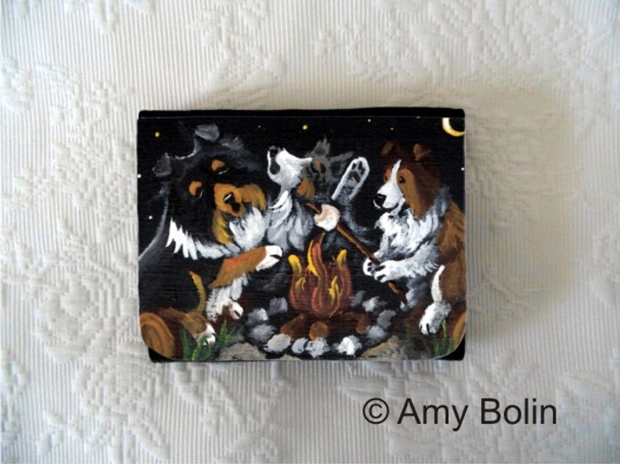SMALL ORGANIZER WALLET · SHELTIES AROUND THE CAMPFIRE  · SABLE, TRI COLOR, BLUE MERLE  SHELTIE · AMY BOLIN