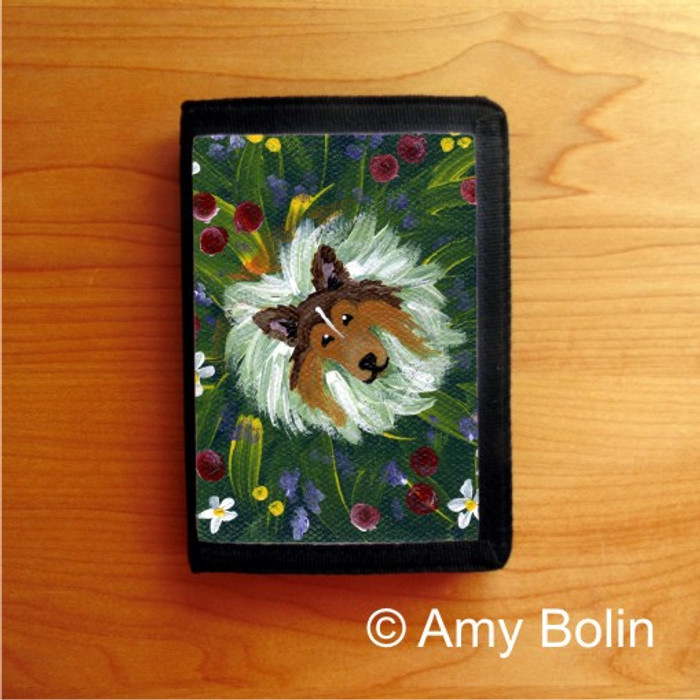 TRIFOLD WALLET · IN MOM'S FLOWERS AGAIN! · SABLE SHELTIE · AMY BOLIN