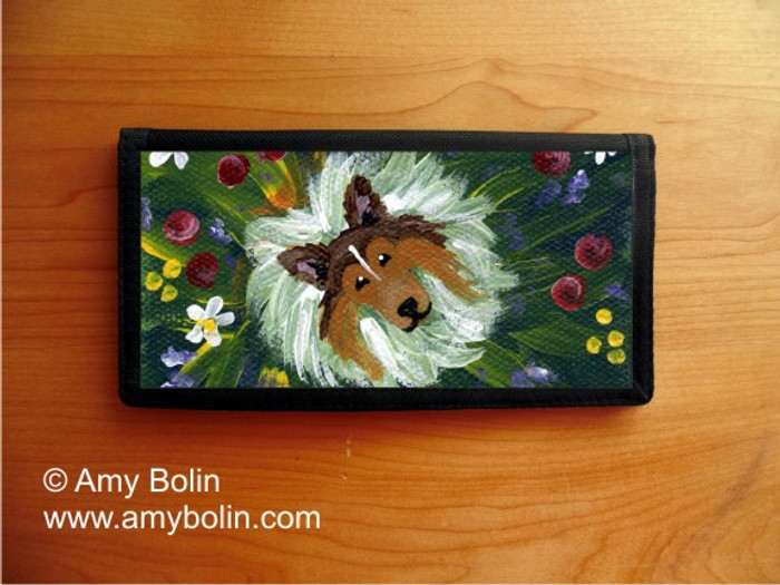 CHECKBOOK COVER · IN MOM'S FLOWERS AGAIN! · SABLE SHELTIE · AMY BOLIN