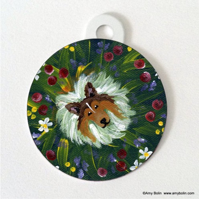 DOUBLE SIDED PET ID TAG · IN MOM'S FLOWERS AGAIN! · SABLE SHELTIE · AMY BOLIN