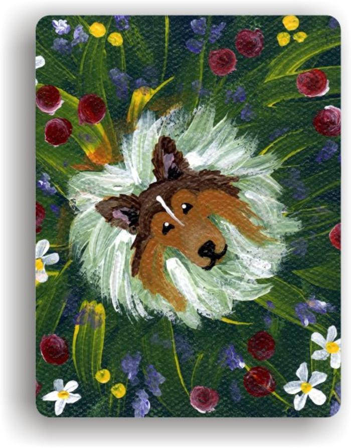 MAGNET · IN MOM'S FLOWERS AGAIN! · SABLE SHELTIE · AMY BOLIN