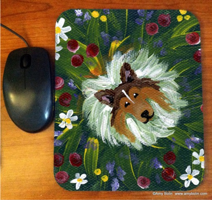 MOUSE PAD · IN MOM'S FLOWERS AGAIN! · SABLE SHELTIE · AMY BOLIN