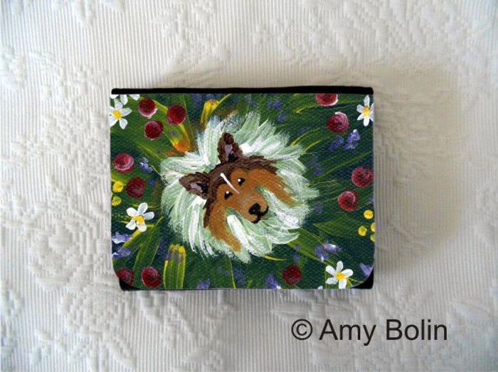 SMALL ORGANIZER WALLET · IN MOM'S FLOWERS AGAIN! · SABLE SHELTIE · AMY BOLIN
