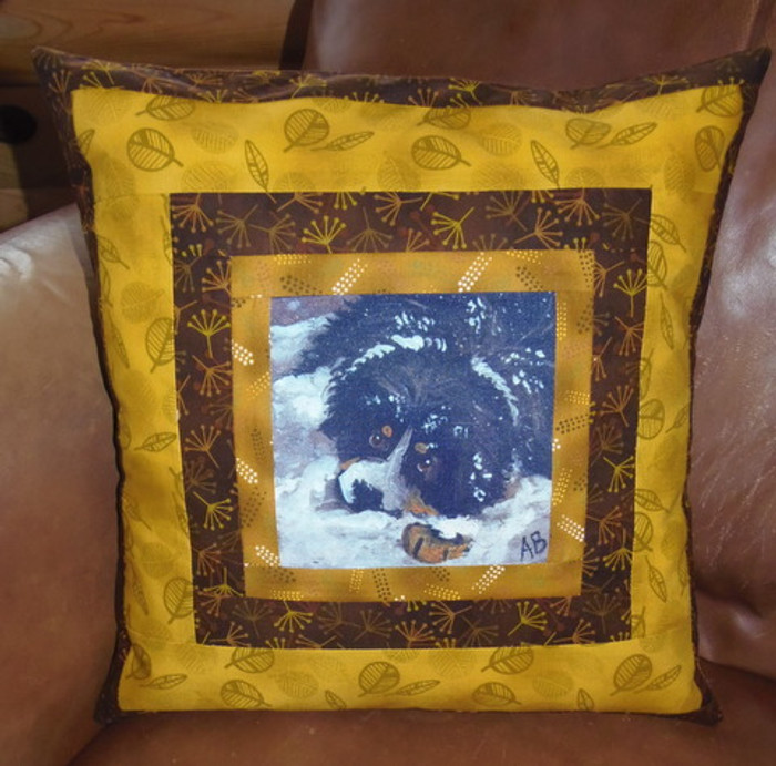"""Handmade Quilted 16"""" by 16"""" Pillow    """"My First Winter""""   Bernese Mountain Dog     By Dawn Johnson"""