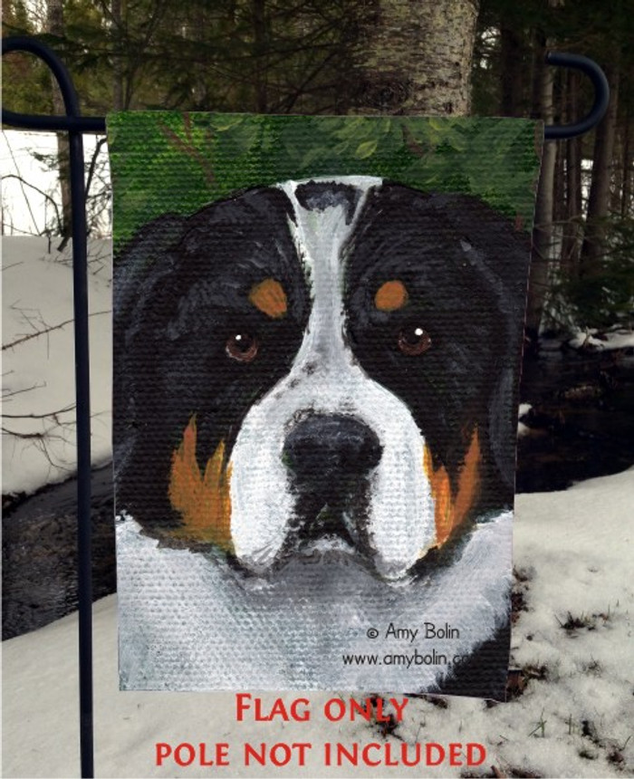GARDEN FLAG · PIPER · GREATER SWISS MOUNTAIN DOG · AMY BOLIN