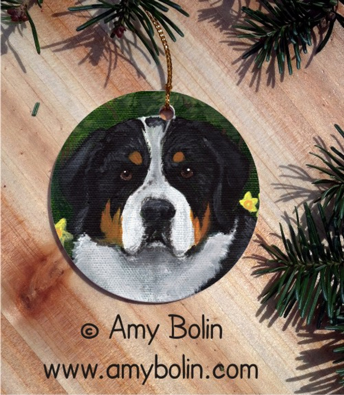 CERAMIC ORNAMENT · PIPER · GREATER SWISS MOUNTAIN DOG · AMY BOLIN