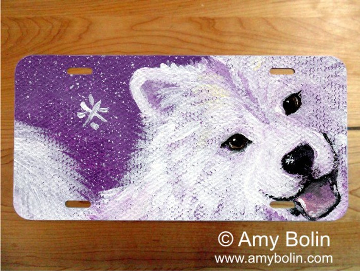 LICENSE PLATE · WISH UPON A SNOWFLAKE · SAMOYED · AMY BOLIN