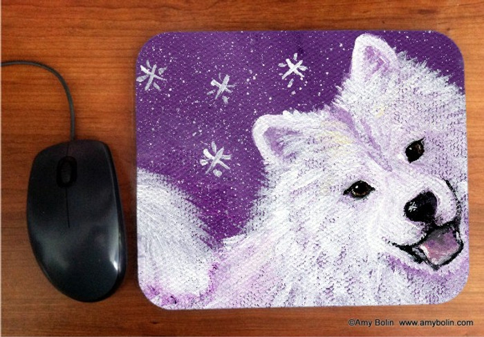 MOUSE PAD · WISH UPON A SNOWFLAKE · SAMOYED · AMY BOLIN