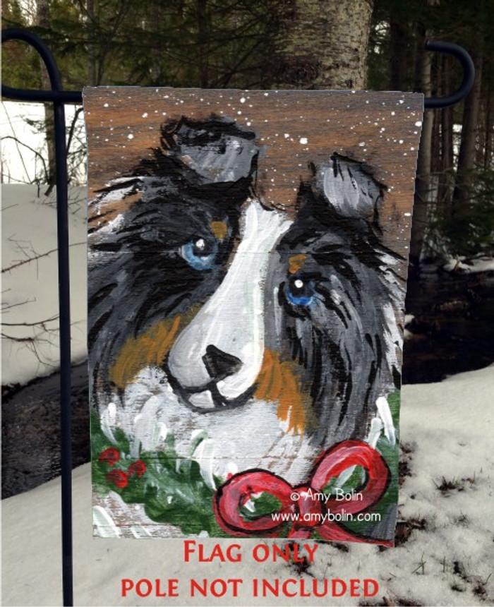 GARDEN FLAG · CHRISTMAS TRADITIONS · BLUE MERLE SHELTIE · AMY BOLIN