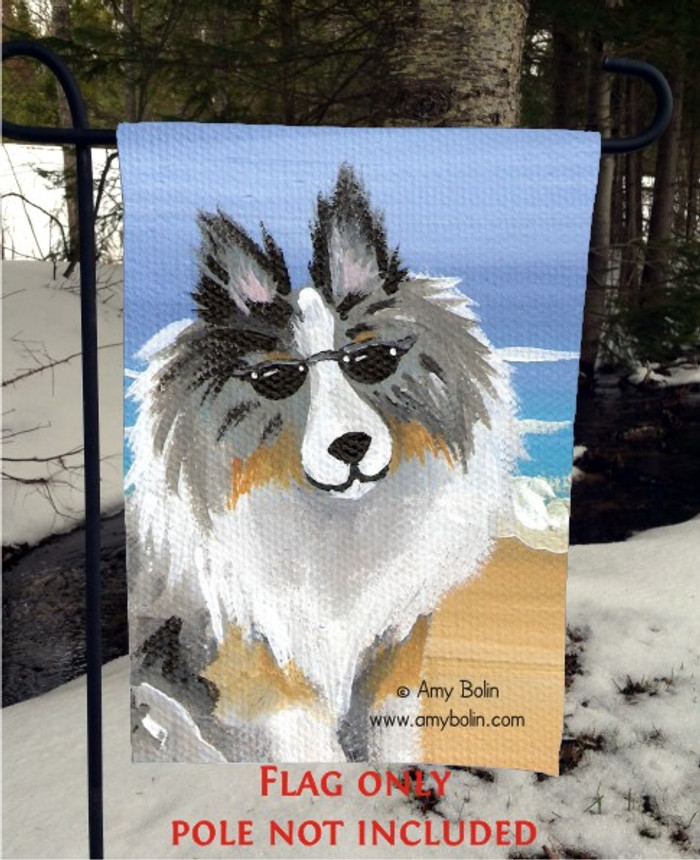 GARDEN FLAG · HELLO HOLLYWOOD · BLUE MERLE SHELTIE · AMY BOLIN
