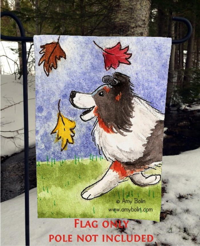 GARDEN FLAG · CHASING LEAVES · TRI COLOR SHELTIE · AMY BOLIN