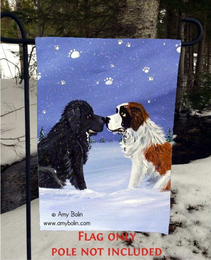 GARDEN FLAG · A COLD, WET HELLO · BLACK NEWFOUNDLAND, SAINT BERNARD · AMY BOLIN