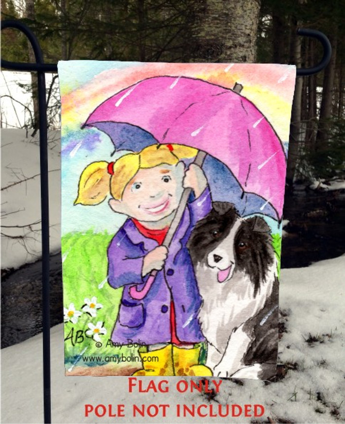 GARDEN FLAG · APRIL'S SHOWERS · BI BLACK SHELTIE · AMY BOLIN