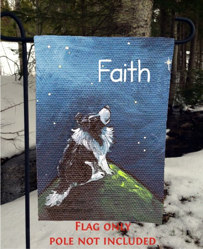 GARDEN FLAG · FAITH · BI BLACK SHELTIE · AMY BOLIN