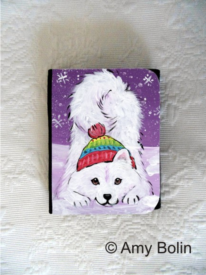 SMALL ORGANIZER WALLET · PLAYFUL PUP · SAMOYED · AMY BOLIN
