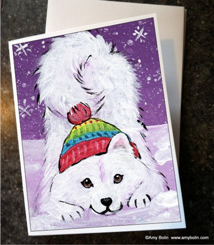 NOTE CARDS · PLAYFUL PUP · SAMOYED · AMY BOLIN