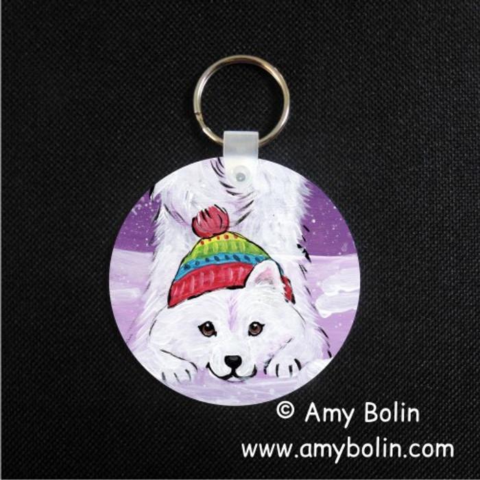 KEY CHAIN · PLAYFUL PUP · SAMOYED · AMY BOLIN