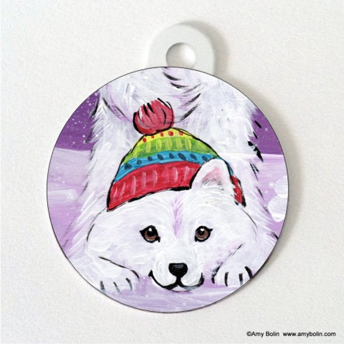 DOUBLE SIDED PET ID TAG · PLAYFUL PUP · SAMOYED · AMY BOLIN