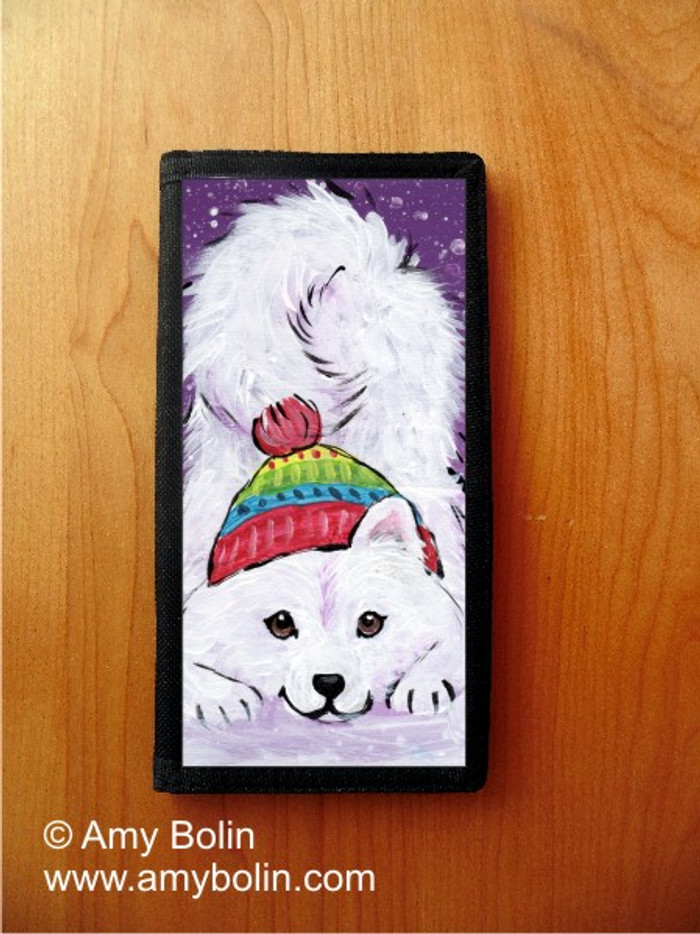 CHECKBOOK COVER · PLAYFUL PUP · SAMOYED · AMY BOLIN