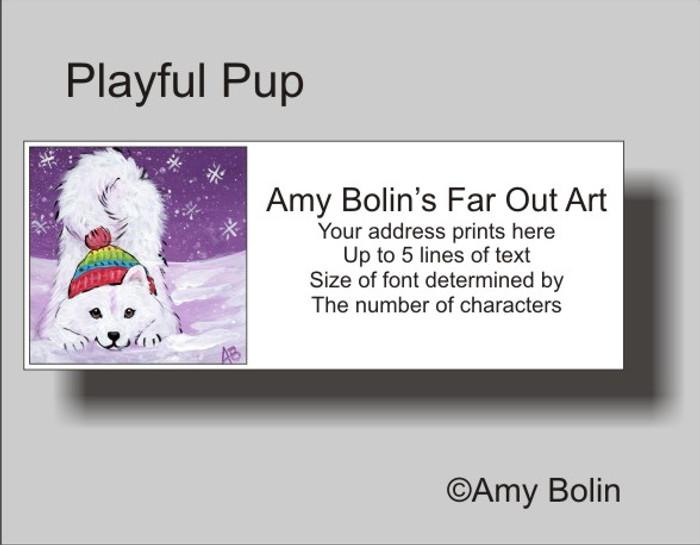 ADDRESS LABELS · PLAYFUL PUP · SAMOYED · AMY BOLIN