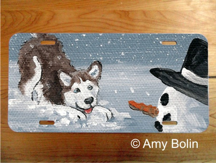 LICENSE PLATE · MY SNOWY FRIEND RED ·  HUSKY · AMY BOLIN