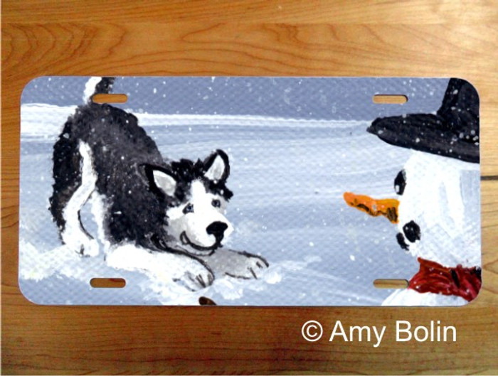 LICENSE PLATE · MY SNOWY FRIEND BLACK ·  HUSKY · AMY BOLIN
