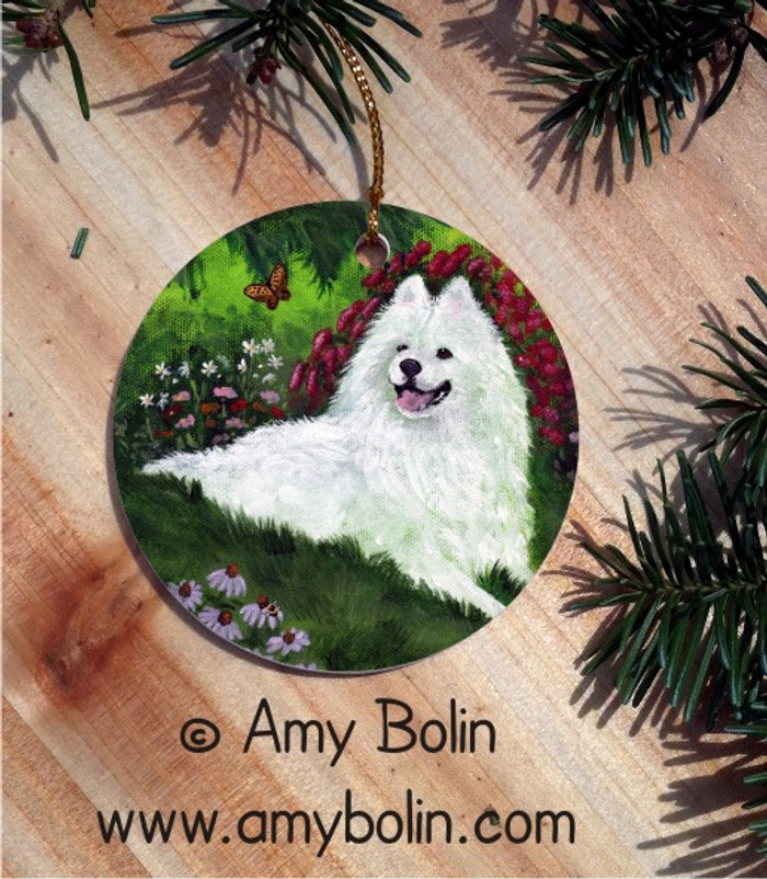 CERAMIC ORNAMENT · SUMMER BLISS · SAMOYED · AMY BOLIN