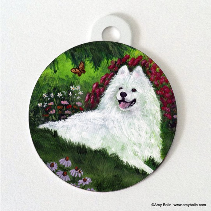 DOUBLE SIDED PET ID TAG · SUMMER BLISS · SAMOYED · AMY BOLIN