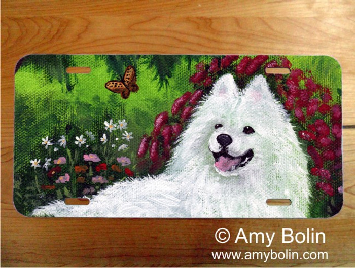 LICENSE PLATE · SUMMER BLISS · SAMOYED · AMY BOLIN