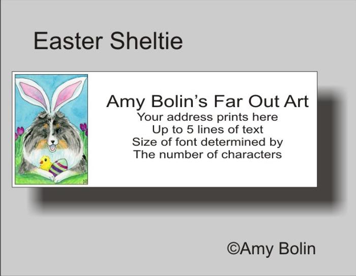 ADDRESS LABELS · EASTER SHELTIE · BLUE MERLE SHELTIE · AMY BOLIN