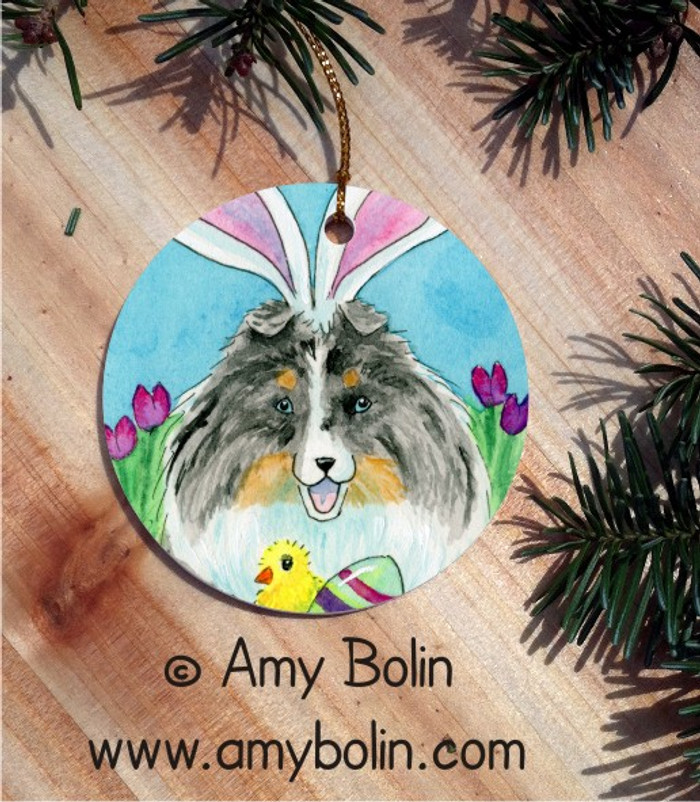 CERAMIC ORNAMENT · EASTER SHELTIE · BLUE MERLE SHELTIE · AMY BOLIN